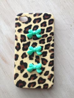 Ready to ship leopard print iphone 4 case with mint green bows / green bow iphone case / ribbon bow knot iphone 4 case. $11.99, via Etsy.