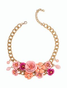 """Flower Bouquet Necklace - TalbotsBig blooms with crystal centers are ornamentally refined in bouquet-ready clusters. The sculpted, life-like petals are pretty in pink and add decorative dimension to statement-making baubles.      20"""" long     3""""extender     Lobster-claw clasp"""
