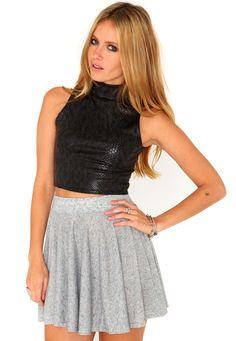 Klendis Melange Skater Skirt In Grey
