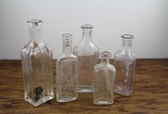 Antique Glass Apothecary Bottles. Medicine bottles by DesertBlossomVintage.com