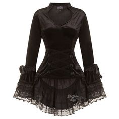 Melody Black Velvet Bustle Gothic Top by Sinister ($99) ❤ liked on Polyvore featuring tops, eyelet top, velvet top, grommet top, tier top and gothic tops