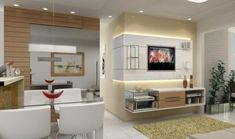 ensemble mural tv moderne - module mural blanc et étagères en verre dans le salon élégant