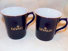 Two Discontined Gevalia Kaffe Cobalt Blue Gold Logo Ceramic Coffee Mug Cups 10oz