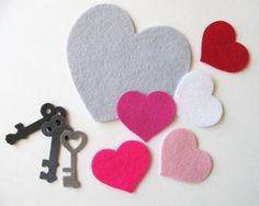 Wool Felt Kit,  Felt Hearts and Keys,   Felt Die Cut Shapes. $7.50, via Etsy.