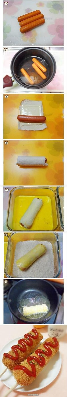 Different hot dog! Make several slices around hot dogs & then soak in hot water for minutes. Roll/flatten bread squares, place cheese, then hot dog & roll up. Dip in the egg mixture & then roll in bread crumbs, pan fry until golden. Enter stick for cor I Love Food, Good Food, Yummy Food, Easy Cooking, Cooking Recipes, Healthy Recipes, Comida Diy, Kids Meals, Easy Meals