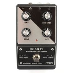 From Moog: The MF Delay is a 100% analog delay providing 35mS-700mS of rich, blooming analog repeats. At shorter settings, the MF Delay is fast and articulate. This is perfect for creating classic sla