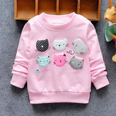 Cute Cat Face Sweatshirts for Children