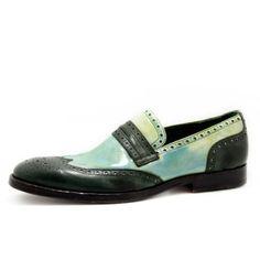 Art. 13/133, Bassa in Vernice crust/Vitello Crast di colore Verde e fodera in Vitello #Mauron1959 #Italy #shoe #man #style #fashion