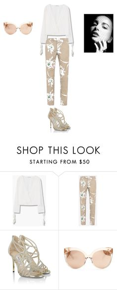 """Sans titre #5401"" by ghilini-l-roquecoquille ❤ liked on Polyvore featuring MANGO, Valentino, Jimmy Choo and Linda Farrow"