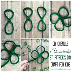 DIY Chenille Shamrocks (4 leaf clovers) - This is an easy and fun St. Patrick's Day Craft project for Kids. Great St. Patrick's Day activity for parties.