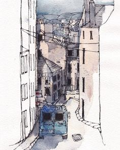 Pin by paul on urban sketching inspiration in 2019 акварель, Art Sketches, Art Drawings, Sketch A Day, Sketch Inspiration, Urban Sketchers, Watercolor Sketch, Painting & Drawing, Art Projects, Illustration Art
