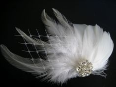 Items similar to Wedding Bridal White Light Ivory Feather Rhinestone Jewel Veiling Head Piece Hair Clip Fascinator Accessory on Etsy Great Gatsby Wedding, Our Wedding, Wedding Ideas, Feathered Hairstyles, Wedding Veils, White Light, Bridal Accessories, Hair Pieces, Headpiece