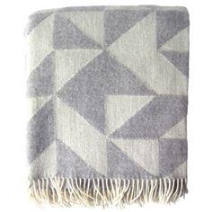Light Grey Geometric Merino Wool Blanket
