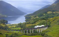 West Highland Line in Scotland. Considered the most scenic railway line in Britain. Was voted the top rail journey in the world by readers of independent travel magazine Wanderlust in 2009, ahead of the iconic Trans-Siberian and the Cuzco to Machu Picchu line in Peru. Also, parts of the route served as a filming location for the Hogwarts Express in the Harry Potter films. Need I say more?