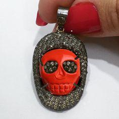 NEW Gemstone Coral Carved Skull Handmade Pendant Diamond Pave Jewelry 925 Silver #Handmade #Pendant