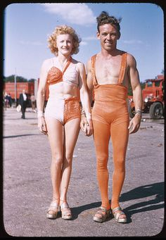 The Flying Behees    Rose Behee & Brother-In-Law at the Ringling Brothers Barnum and Bailey Combined Shows, Chicago, 1946.    Photo by Charles Cushman    Cushman ID:  1846.11  Archives ID:  P03435  Date:  Aug. 11, 1946