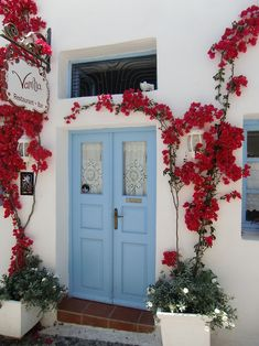 All things Hellenic ~ Ο Τόπος μας — Entrance to a Cycladic Tavern! Restaurant Door, Greece Art, Greek Restaurants, Front Door Colors, Front Entrances, Bougainvillea, Windows And Doors, Holidays And Events, Art And Architecture
