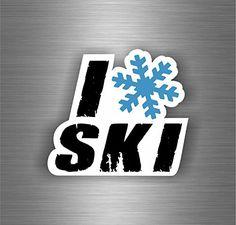 Autocollant sticker voiture moto biker macbook i love ski neige hiver montagne: Taille du sticker : 100mm x 90mm Idéal pour une utilisation…