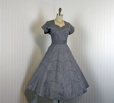 vintage 50s dress gray chambray cotton by jumblelaya, $148.00