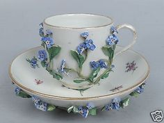 Antique Meissen Porcelain Flower Encrusted Cup & Saucer - Tea Coffee  PC