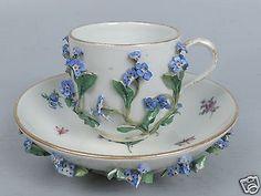 Antique Meissen Porcelain Flower Encrusted Cup & Saucer - Tea Coffee PC