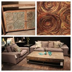What a great color palette #eccentric #rug #warm #livingroom #style #GF Gallery Furniture