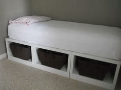 DIY Storage Daybed - good idea for the loft area - could be used as place to watch movies from or read, then bed a night