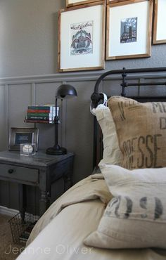 Like the gray nightstand and lamp, the burlap pillows and the overall style of this teen boy room.