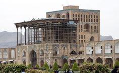 'Ali Qapu, Isfahan, Iran. Exterior view from north on maydan.  Photographed by Daniel C. Waugh, April 2010.