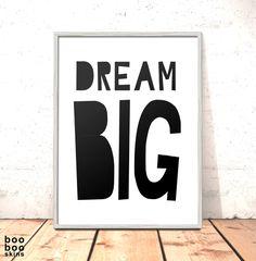 Dream Big Print Poster Art for Boys Girls Room Kids Room Scandi Nursery Art Modern Nursery Print Monochrome Picture Kids Room by boobooskins on Etsy #monochrome #modern #scandi #nordic #danish #bold #simple #naive #papercut #art #print #poster #black #white #dreams #boysroom #girlsroom #newbaby #christening #gift #picture