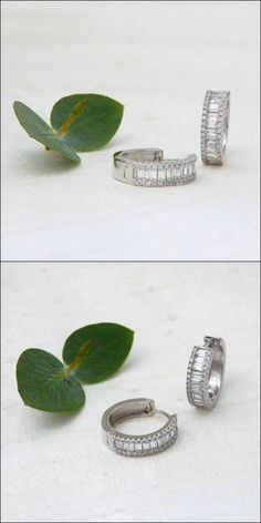 """Best sparkle comes in small packages. CZ huggie hoops are 1/2"""" wide at center. Modern look for brides, sparkle for nights out. Bridal Accessories, Bridal Jewelry, Jewelry Accessories, Chandelier Earrings, Hoop Earrings, Stackable Rings, Wedding Earrings, Wedding Shoes, Brides"""