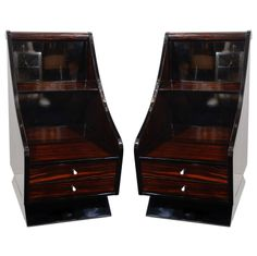 Pair of Exquisite Art Deco End Table with Sleigh Design