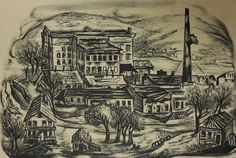 """Abandoned Factory"" Lithograph, c. 1936-42 Lillian Adelman"