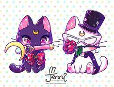 "3,092 Me gusta, 35 comentarios -  J E N N I  (@jennillustrations) en Instagram: ""Luna (Sailor Moon) & Artemis (Tuxedo Mask)  . . . #sailormoon #tuxedomask #luna #artemis…"""