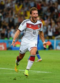 Mario Gotze of Germany scoring against Argentina in the 2014 World Cup Finals