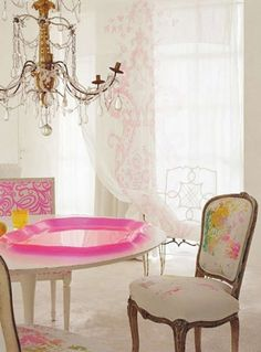 fine dining. love the neon hot pink tray as well as the chair with neon paint drips