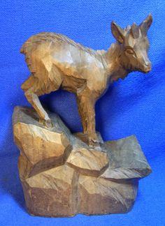 Vintage German Wood Carved Goat on Rocks Figure #W*