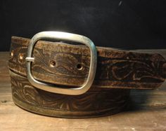 Western Vintage Aged Leather Belt- embossed leather -    Handmade in USA