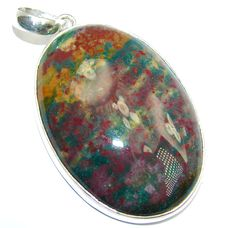 $79.95 AAA+Fancy+Bloodstone+Heliotrope+from+India+Sterling+Silver+pendant at www.SilverRushStyle.com #pendant #handmade #jewelry #silver #bloodstone