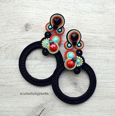 Long soutache earrings with czech beads. Diy Statement Earrings, Dyi Earrings, Soutache Tutorial, Earring Tutorial, Diamond Earrings For Women, African Earrings, Soutache Necklace, Etsy Jewelry, Bead Weaving