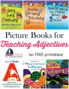 Picture books bring academic lessons to life. Use this list to further illustrate adjectives in your homeschool and classroom lessons. Good Grammar, Grammar Book, Teaching Grammar, Grammar Lessons, Writing Lessons, Teaching Writing, Writing Skills, Grammar Activities, Book Activities