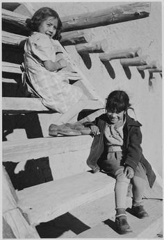 Young Girls at San Ildefonso Pueblo, New Mexico by Ansel Adams