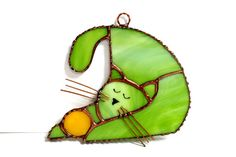 Stained Glass Cat by Whimzeeglass on Etsy
