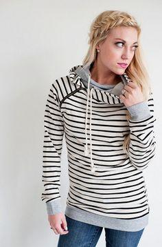 Double Hooded Sweatshirt - Tan – Mindy Mae's Market Total necessity! Have it in Tan w/ black stripes Black w/ tan/gray stripes, Rust w/oatmeal stripes
