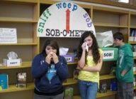 Teen school library bulletin boards | sob-o-meter display for teen section