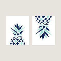 Pineapple Prints, Pineapple Art, Pineapple Decor, Pineapple Wall Art, Geometric Pineapple Wall Decor, Set of 2 Pineapple Canvas or Prints Pineapple Wall Decor, Pineapple Art, Girl Room, Room Decor, Wall Art, Canvas, Prints, Tela, Girl Rooms