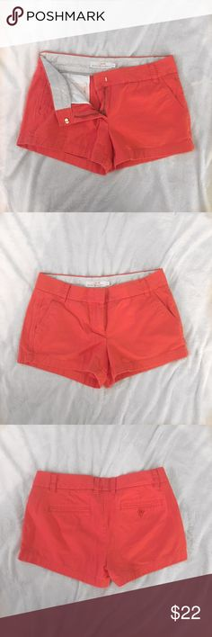 Coral colored J. Crew chino shorts Super cute coral colored J. Crew shorts. 100% cotten. Used, but in good condition. ASK QUESTIONS!😊😊 J. Crew Shorts