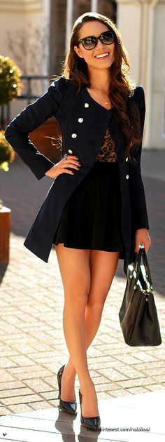 Street Style - Black coat with gold buttons, a skirt & leopard top <3