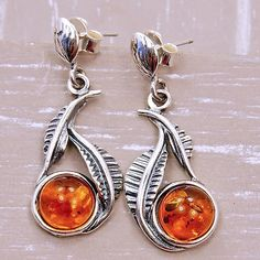0591e6313f2113 Leaf Earrings Baltic Amber Earrings & Sterling Silver Earrings AE296 AF902  AE295 The Silver Plaza