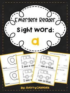 Emergent Reader: Sight Word: a - Great for guided reading in kindergarten and first grade. Also great for take home books - Provides for differentiation! This is the fourth of 100 readers in the works! $